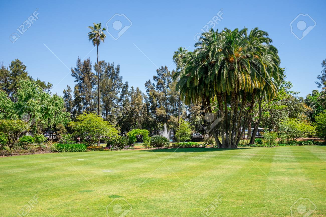 A View To Government House Park, Lawn And Landscaped Gardens In Perth City,  Western