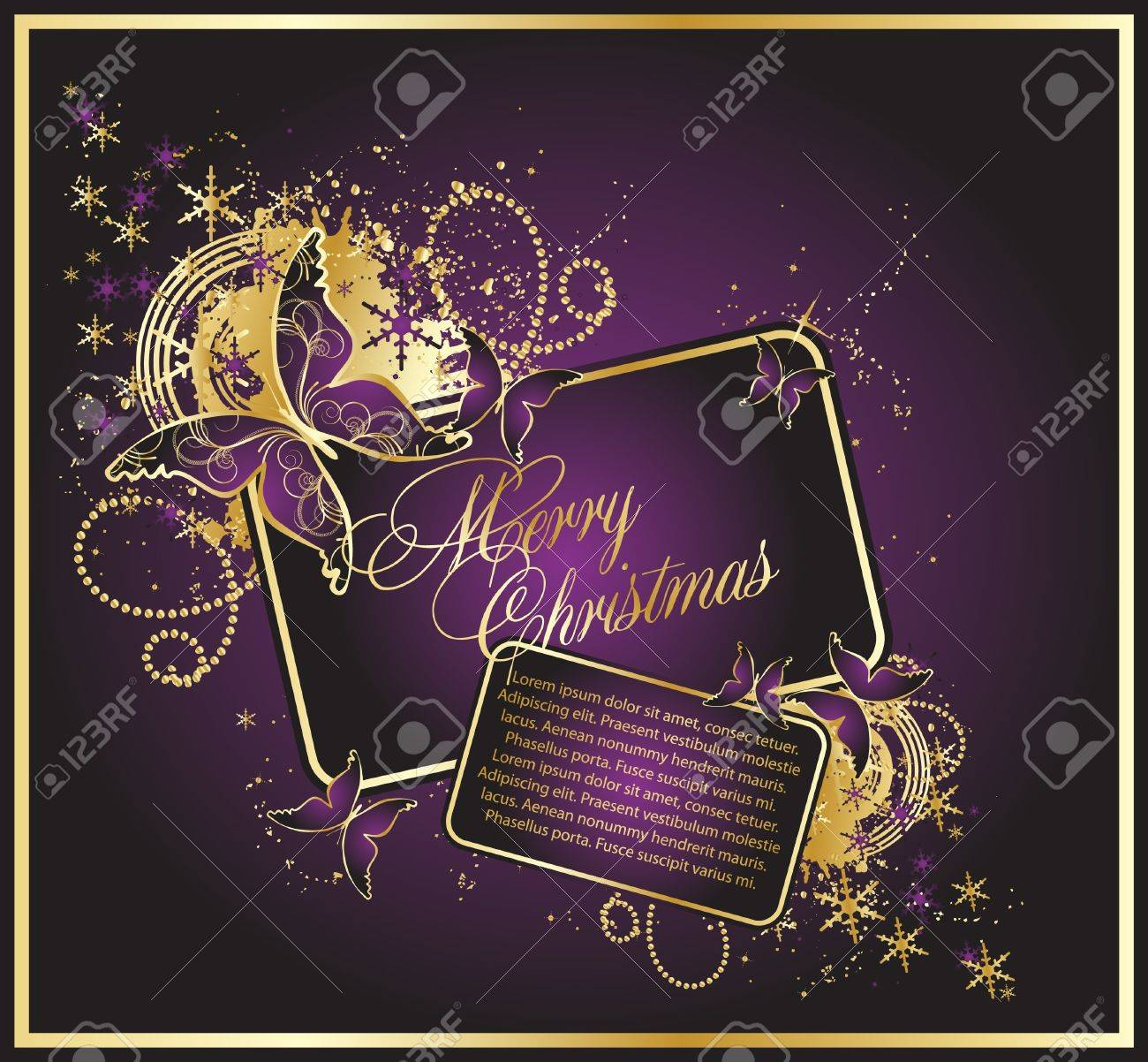 The violet christmas background with beauty butterflys Stock Vector - 10353477