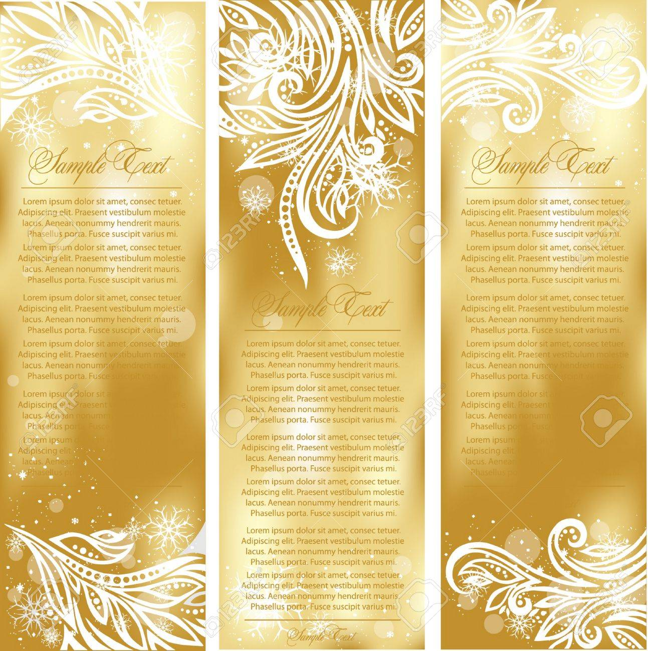 set of gold xmas cards Stock Vector - 10820174
