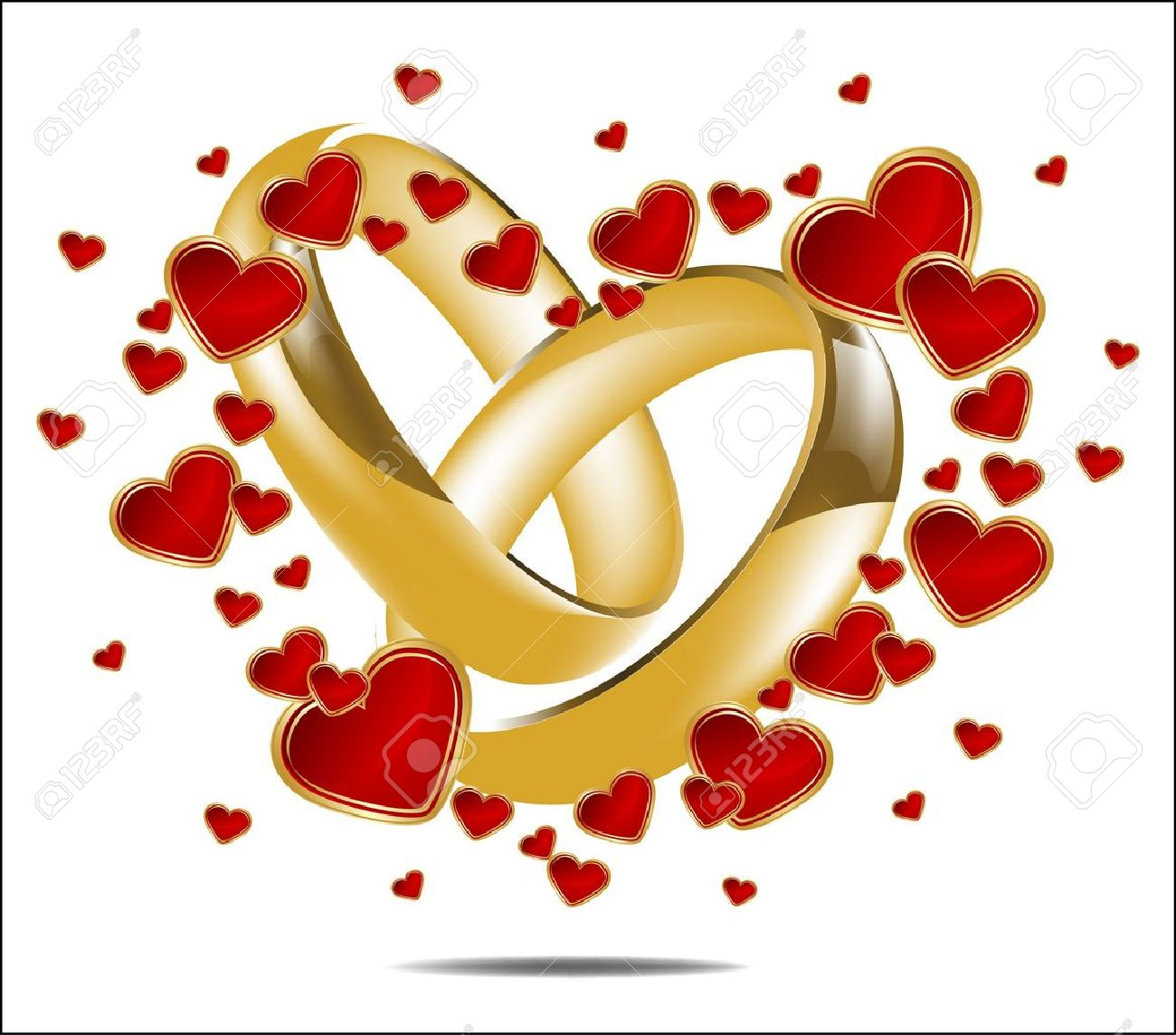 Illustration With Wedding Rings And Red Heart Stock Vector