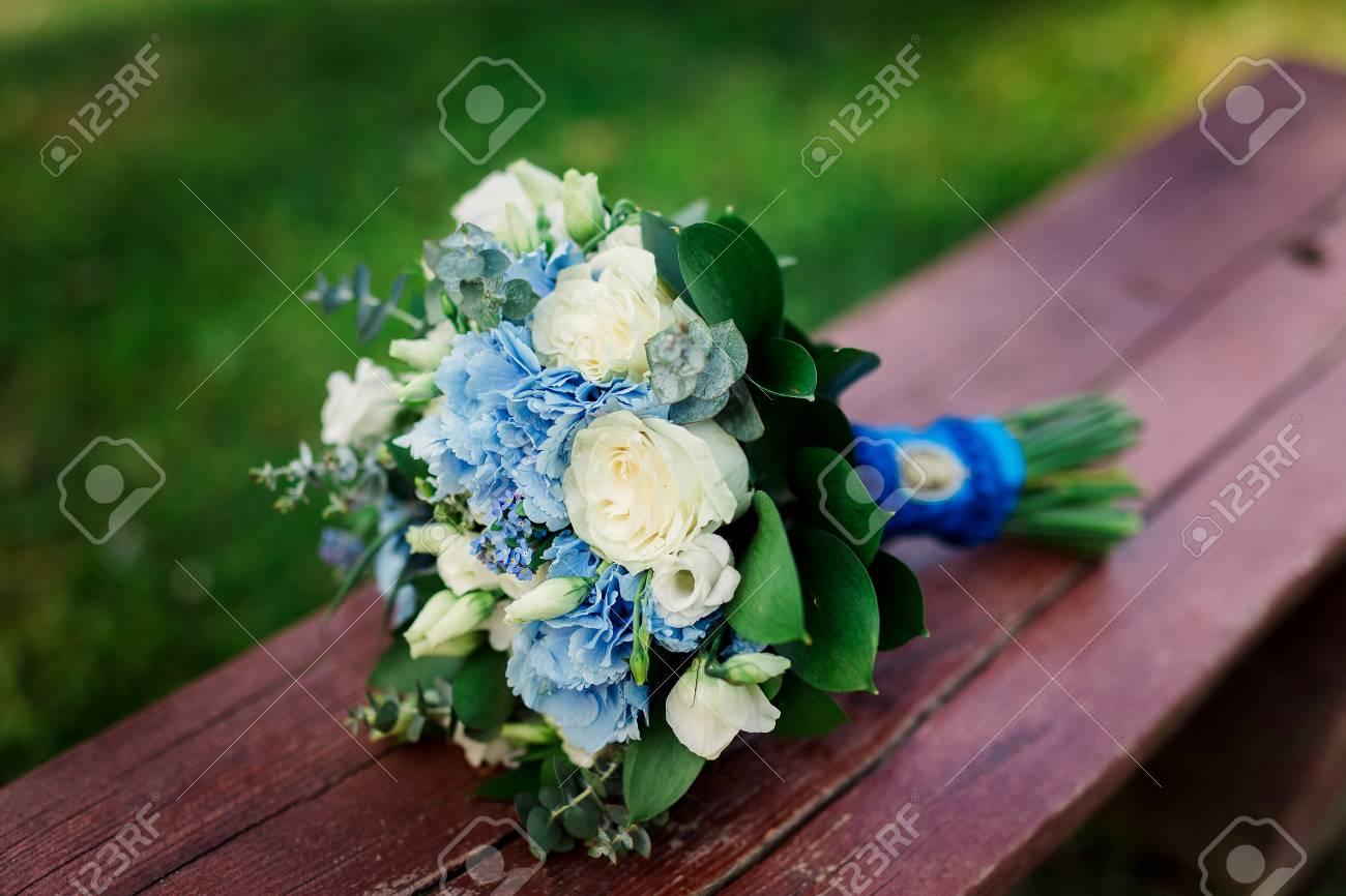 Beautiful Blue And White Fresh Flowers Wedding Bouquet Stock Photo ...