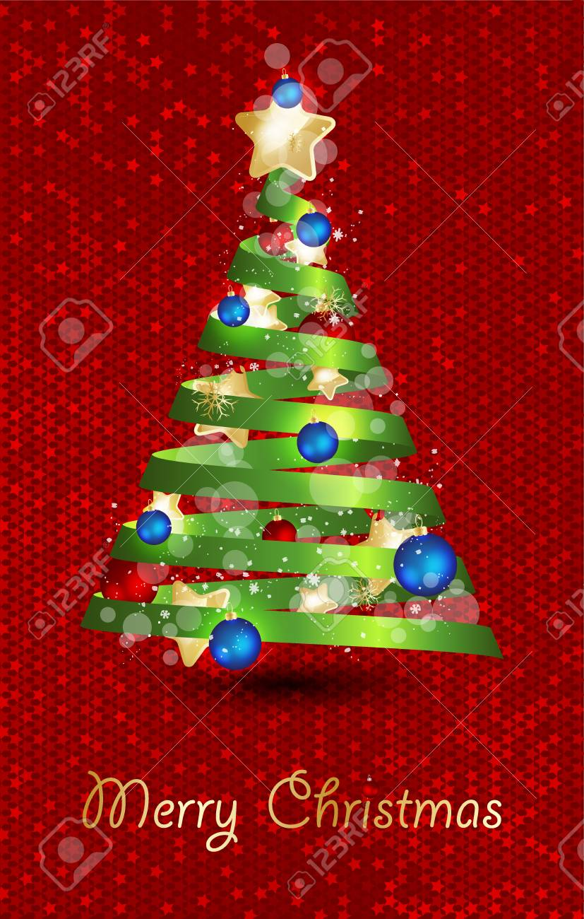 Decorated Christmas Tree With Star Lights Decoration Balls
