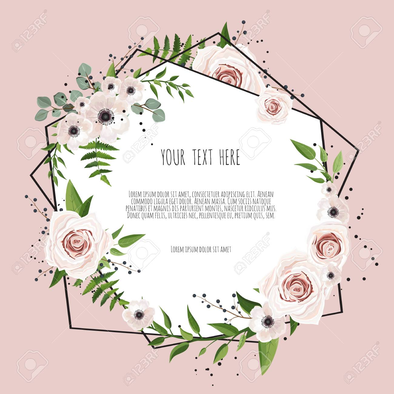 Geometric botanical vector design frame. Natural spring wedding card. All elements are isolated and editable - 97398720