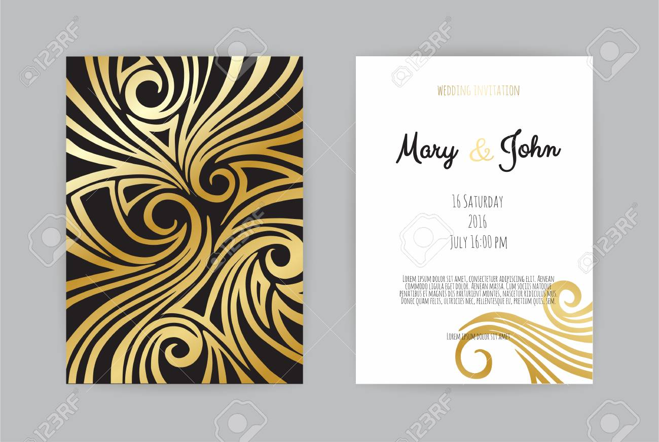 Vintage Wedding Invitation Templates. Cover Design With Gold ...