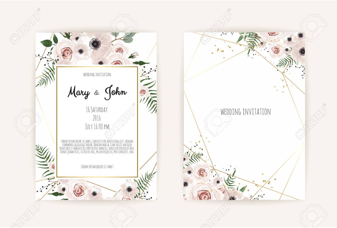 Vector invitation with handmade floral elements. Wedding invitation cards with floral elements. Vector template set - 98746405
