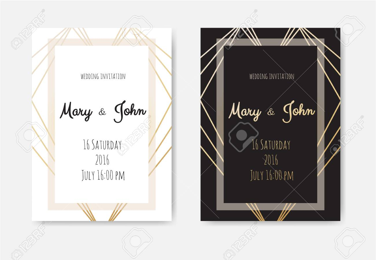 wedding invitation invite card design with geometrical art lines