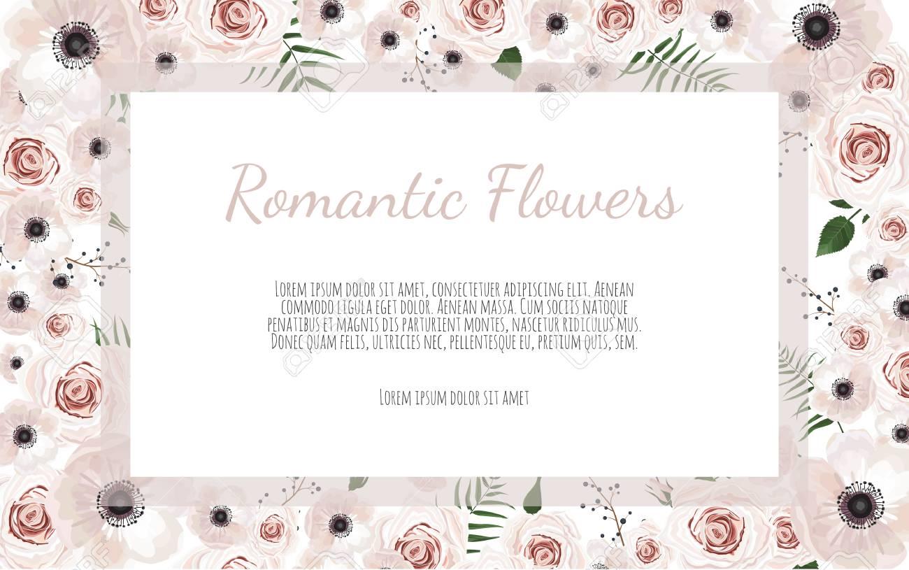 Vector Floral Design Card Greeting Postcard Wedding Invite
