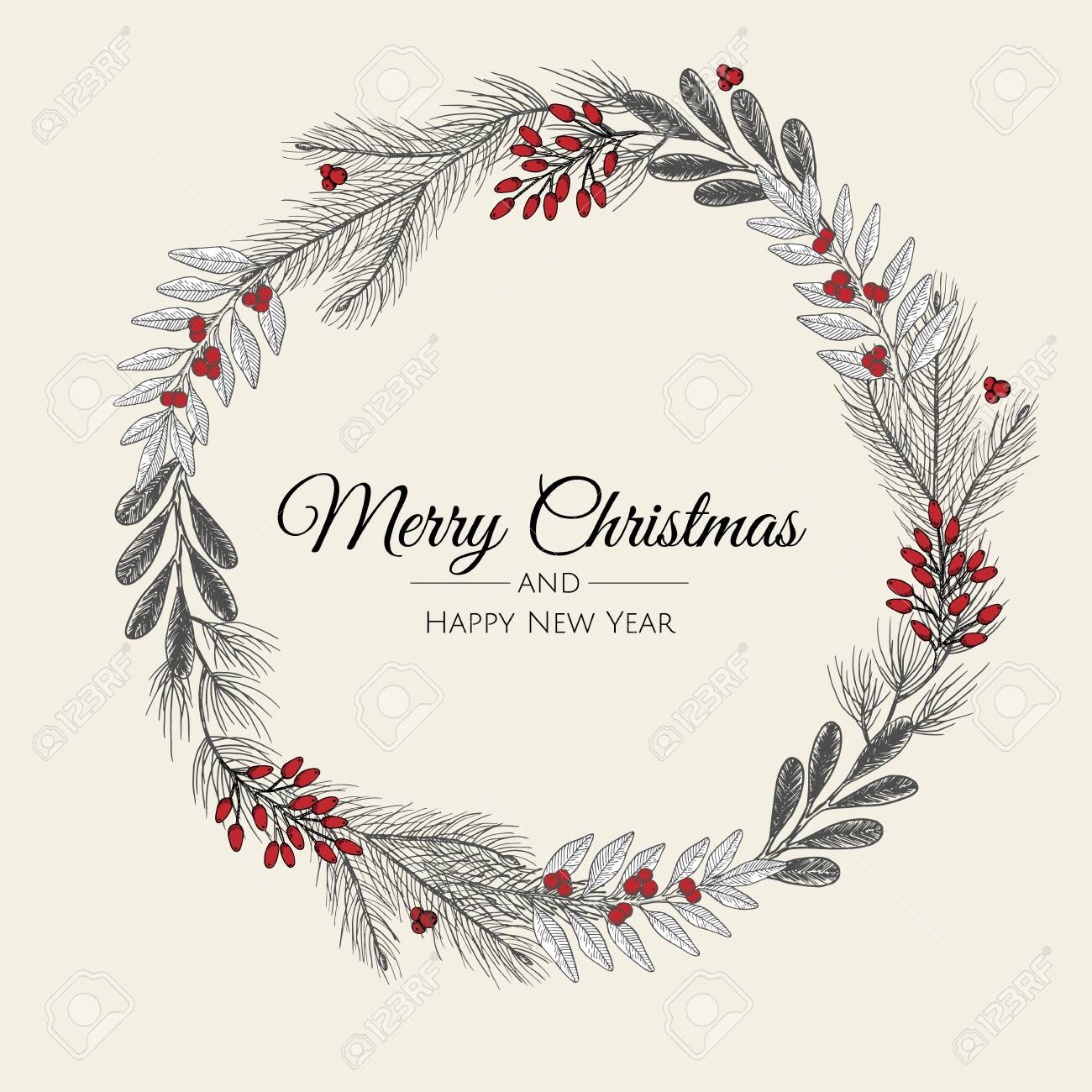 Hand Drawn Christmas Wreath Vector Holiday Illustration Royalty Free Cliparts Vectors And Stock Illustration Image 155902868