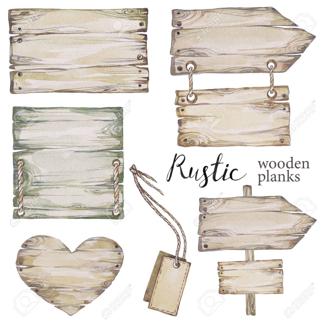Handpainted Collection Watercolor Wood Planks Clipart Pointer Board Wooden Heart Rustic