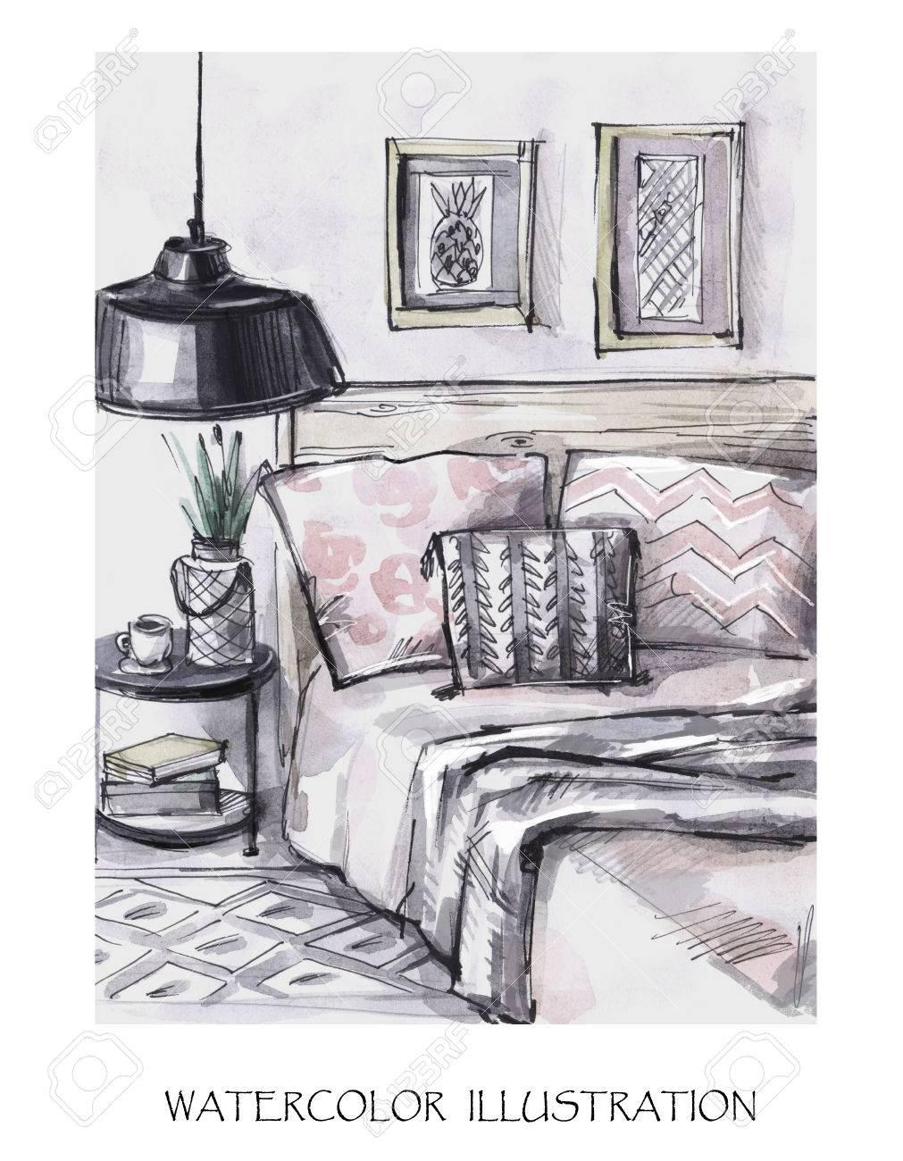 Hand Drawn Interior Design Card. Watercolor Modern Illustration ...