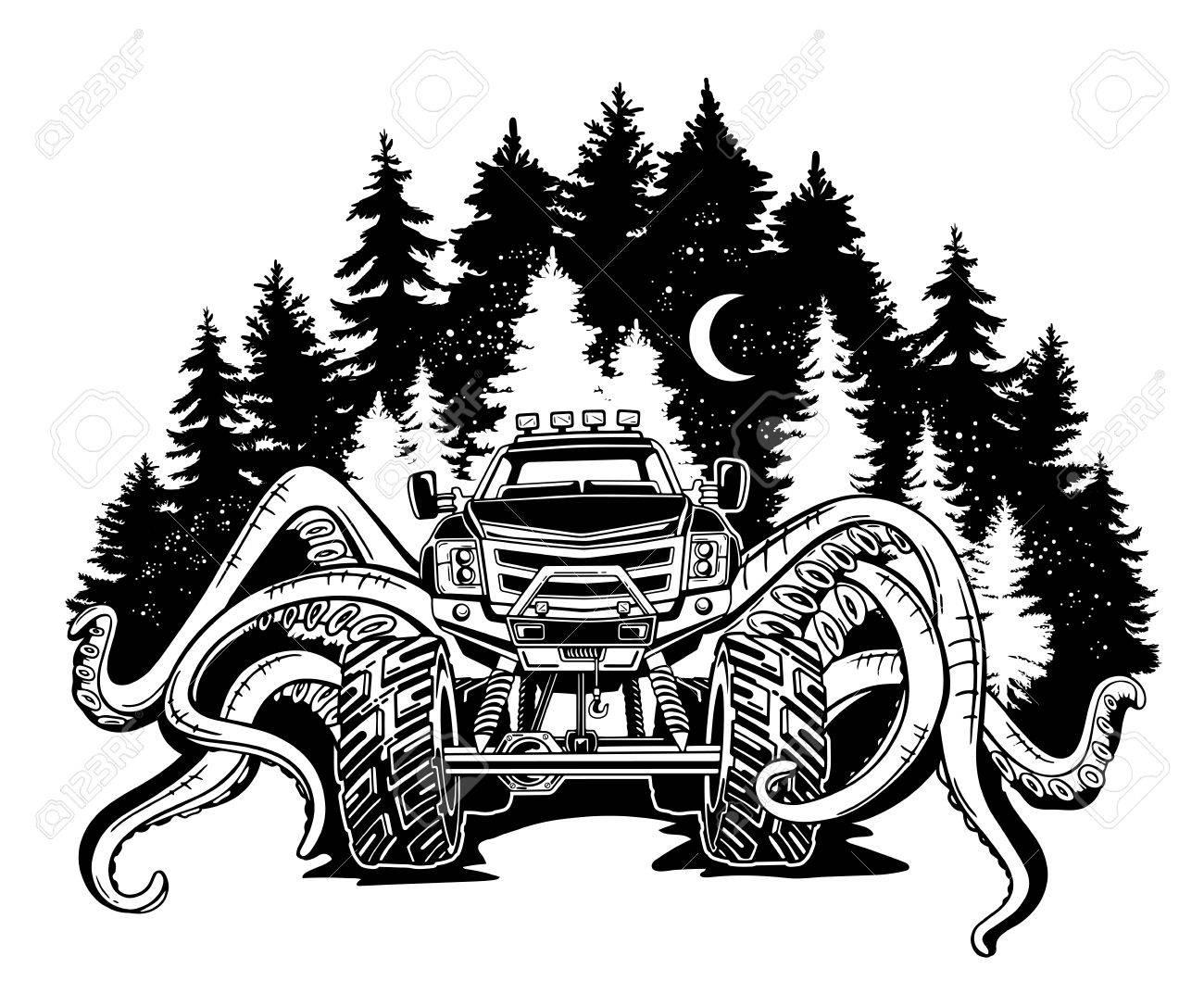 Vector Monster Truck Avec Des Tentacules Du Paysage De Mollusques Et