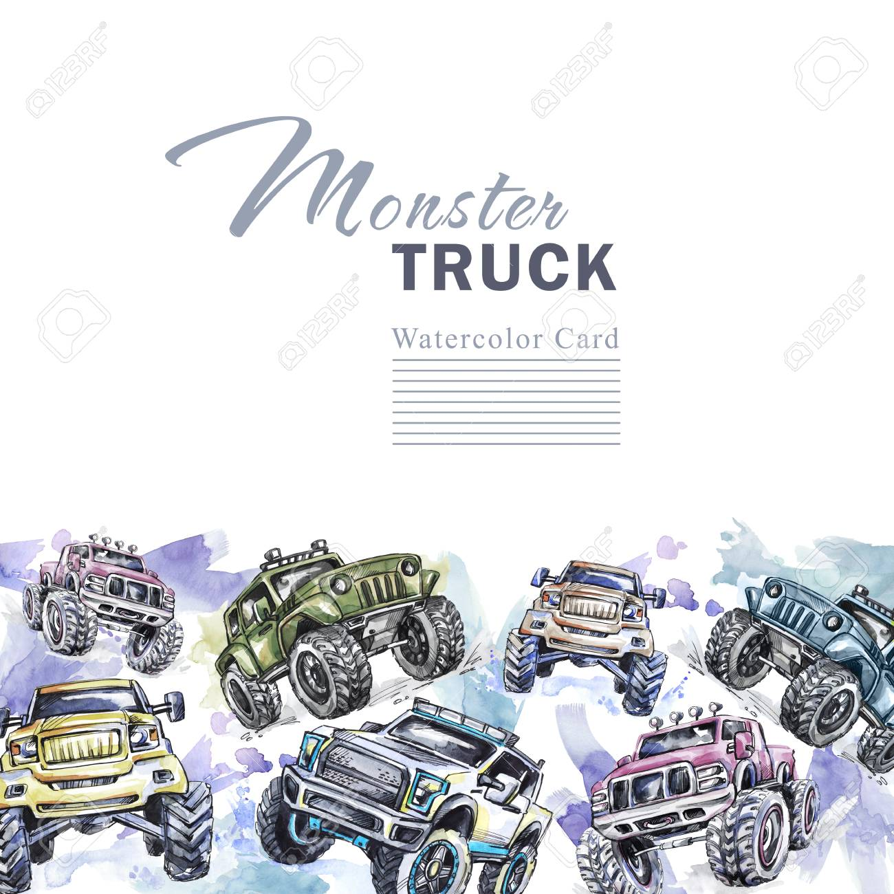 Watercolor cars horizontal border. Cartoon Monster Trucks frame...