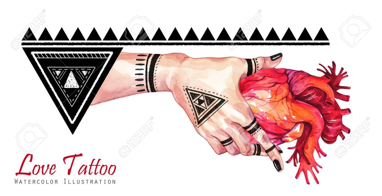 Main De Femme Aquarelle Banniere Avec Tatouage De Mehendi Tenant Coeur Anatomique Decor Geometrique Triangles Humain Parties Du Corps Symbole