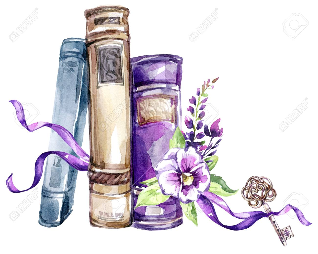 Watercolor Illustration. A Pile Of Old Books With A Bow, Pansies ...