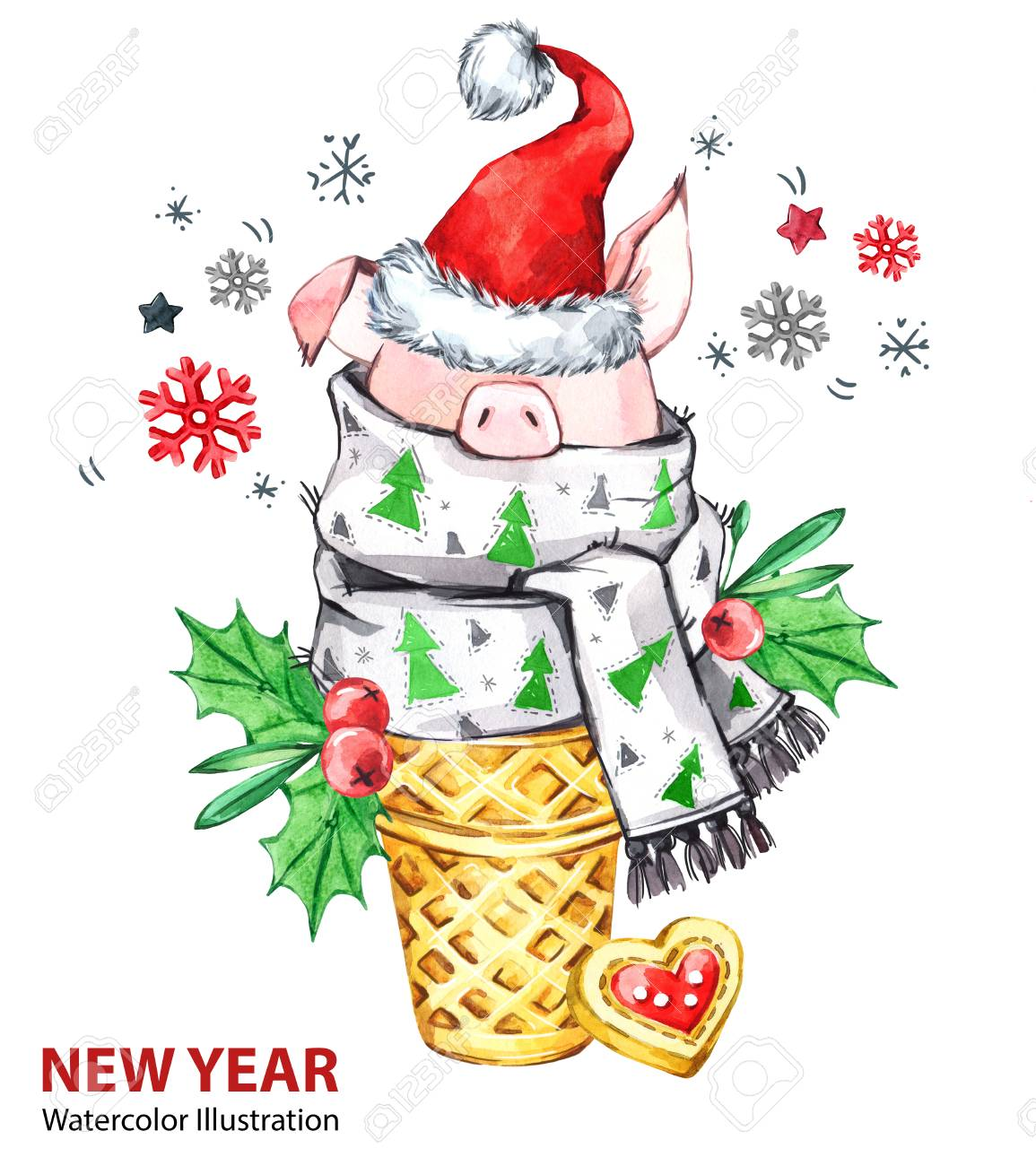2019 Happy New Year Illustration. Christmas. Cute Pig With Santa ...