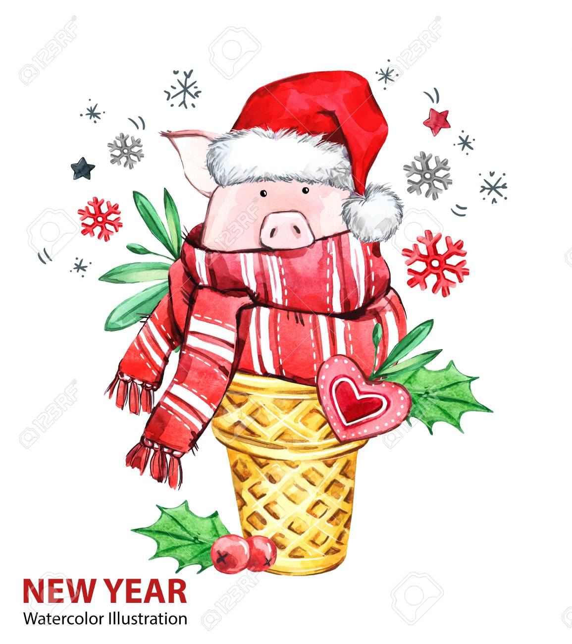 2019 happy new year illustration christmas cute pig with santa hat in waffle cone