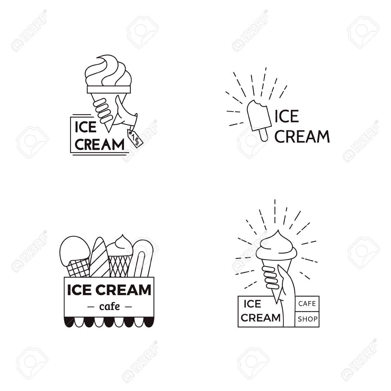 Ice Cream Label, Badge Design Template. Food Vector Line Art ...