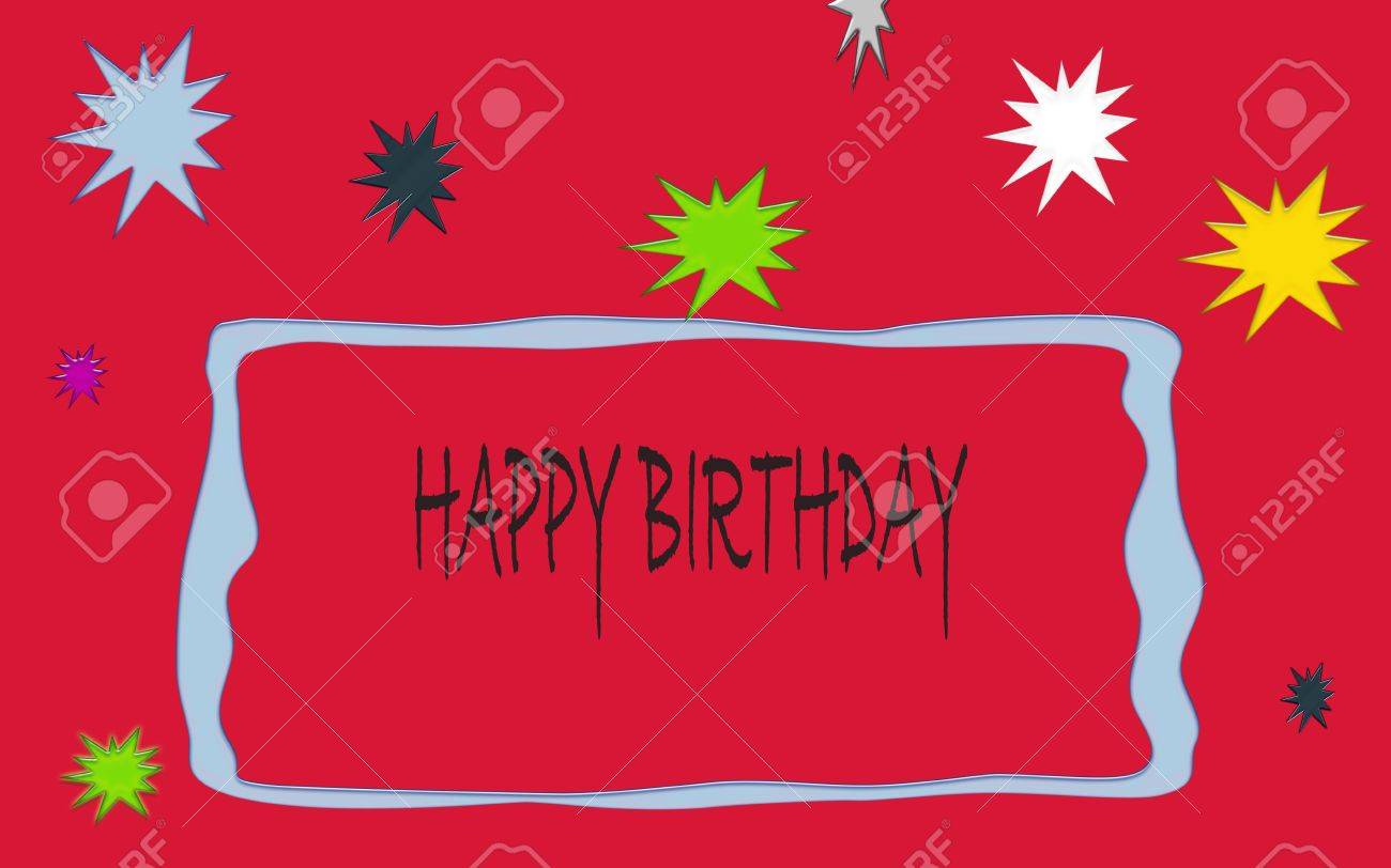 Birthday Card In Red Color With Colorful Stars Stock Photo Picture