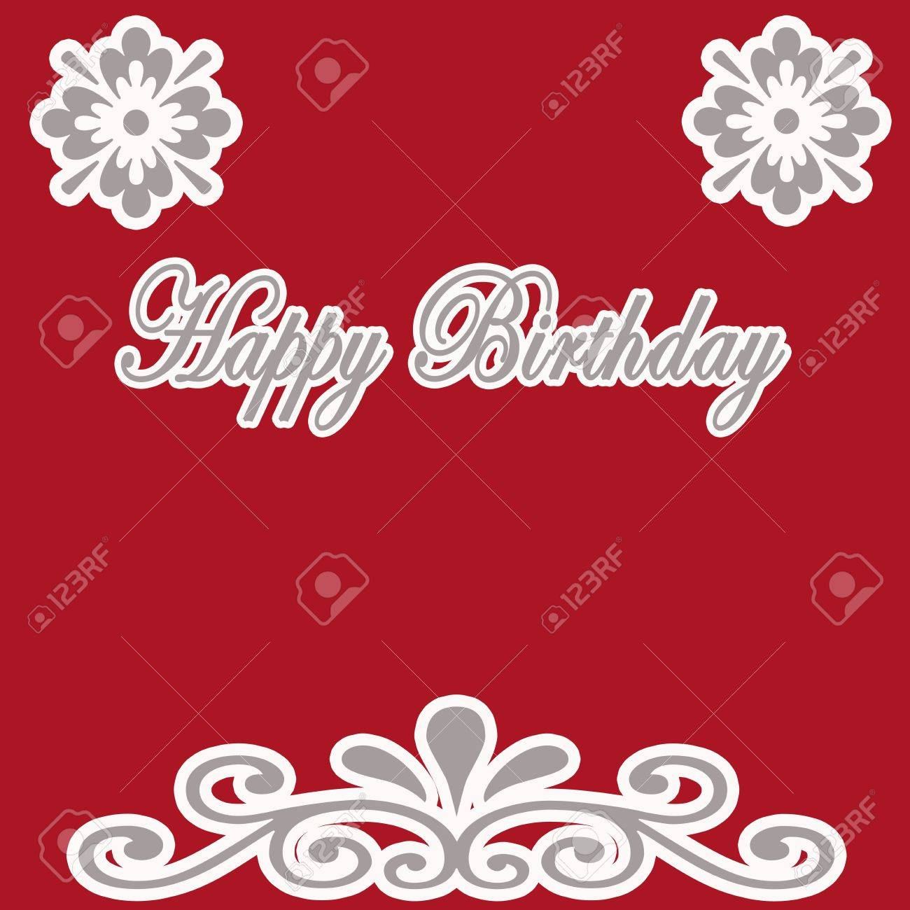 Birthday Card In Red Color Stock Photo Picture And Royalty Free