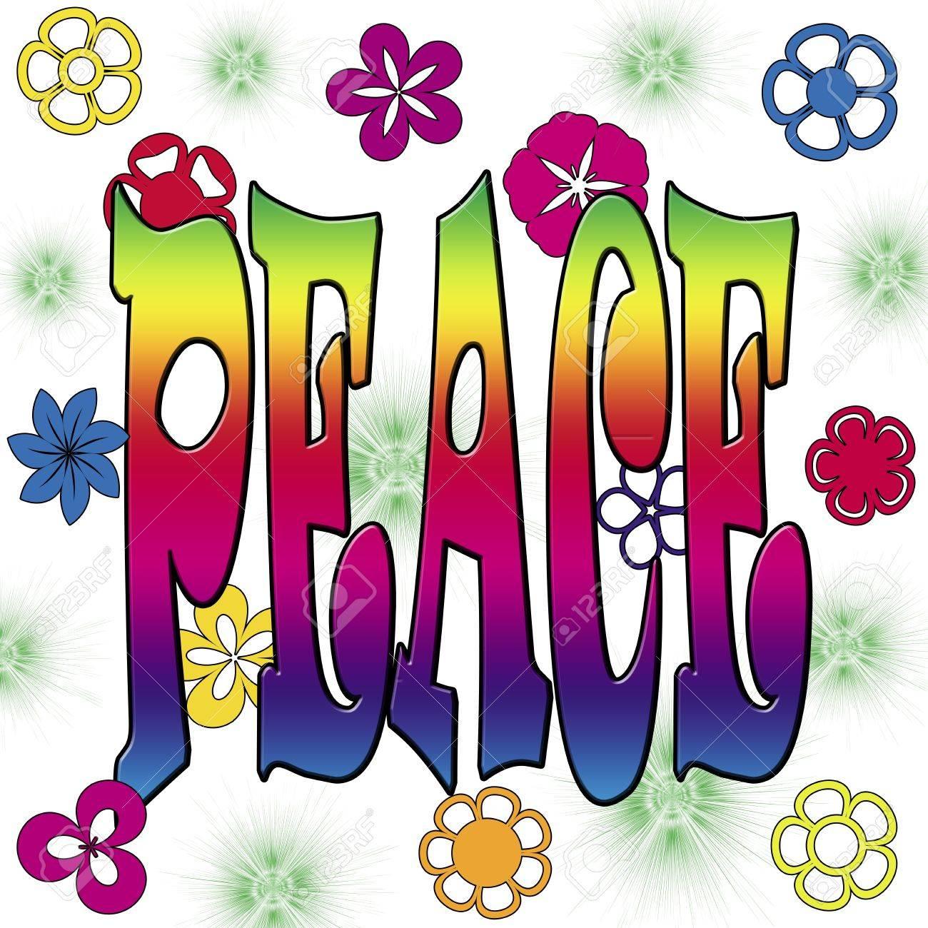 Ilustración de la paz con flores de colores sobre fondo blanco Foto de archivo - 17035265