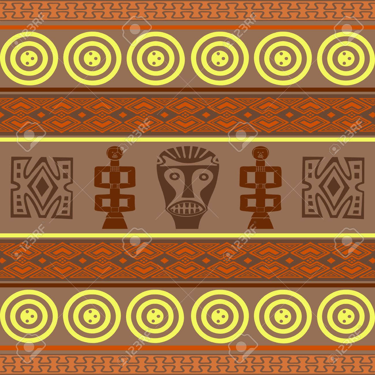 Wallpaper With African Design Elements Stock Photo Picture And