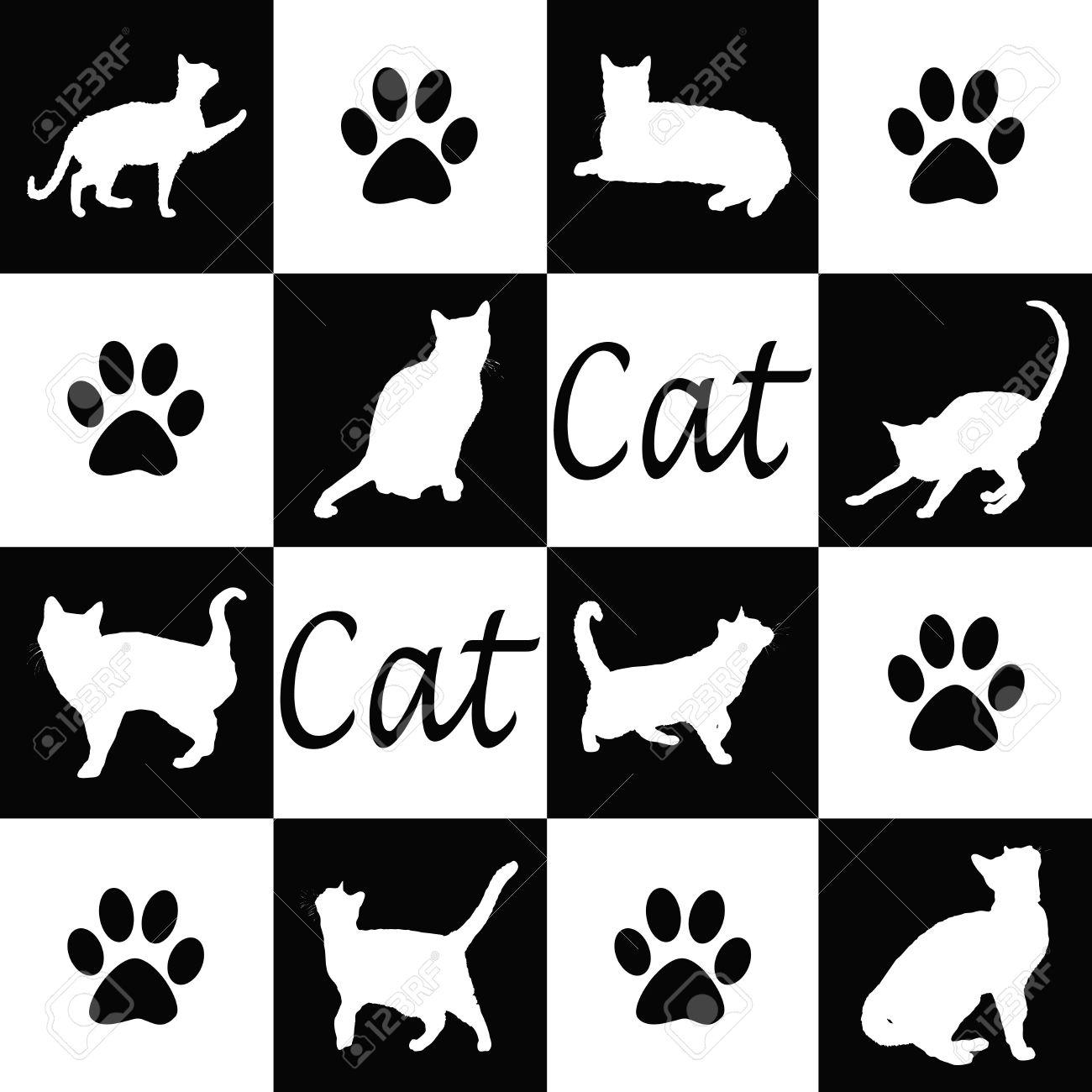 黒と白の猫シルエット壁紙します の写真素材 画像素材 Image