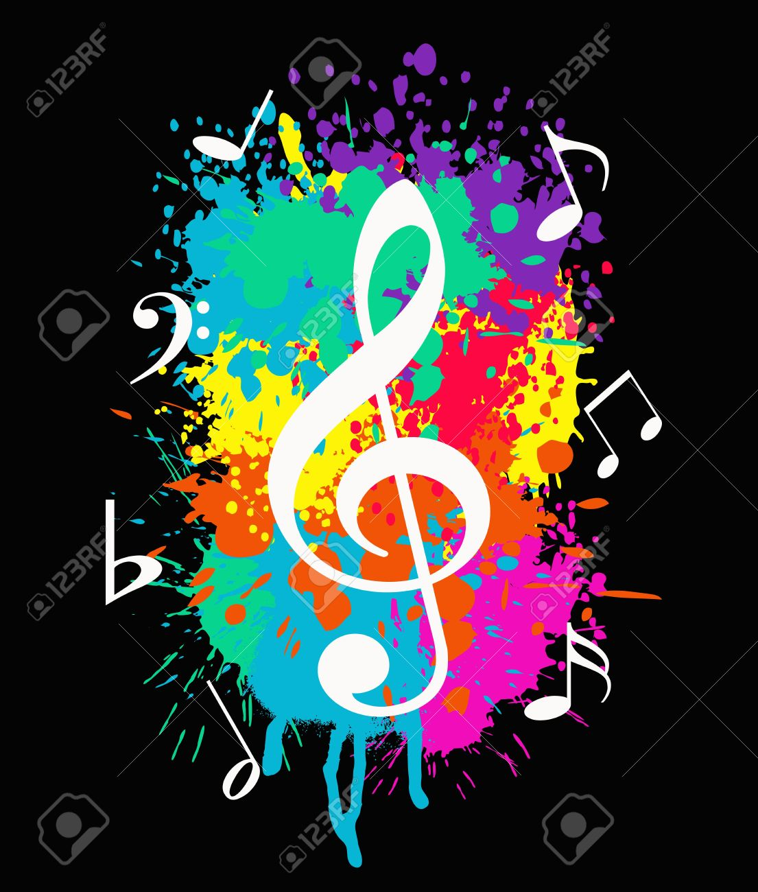 Wallpaper With Music Symbols On Colorful Background Stock Photo
