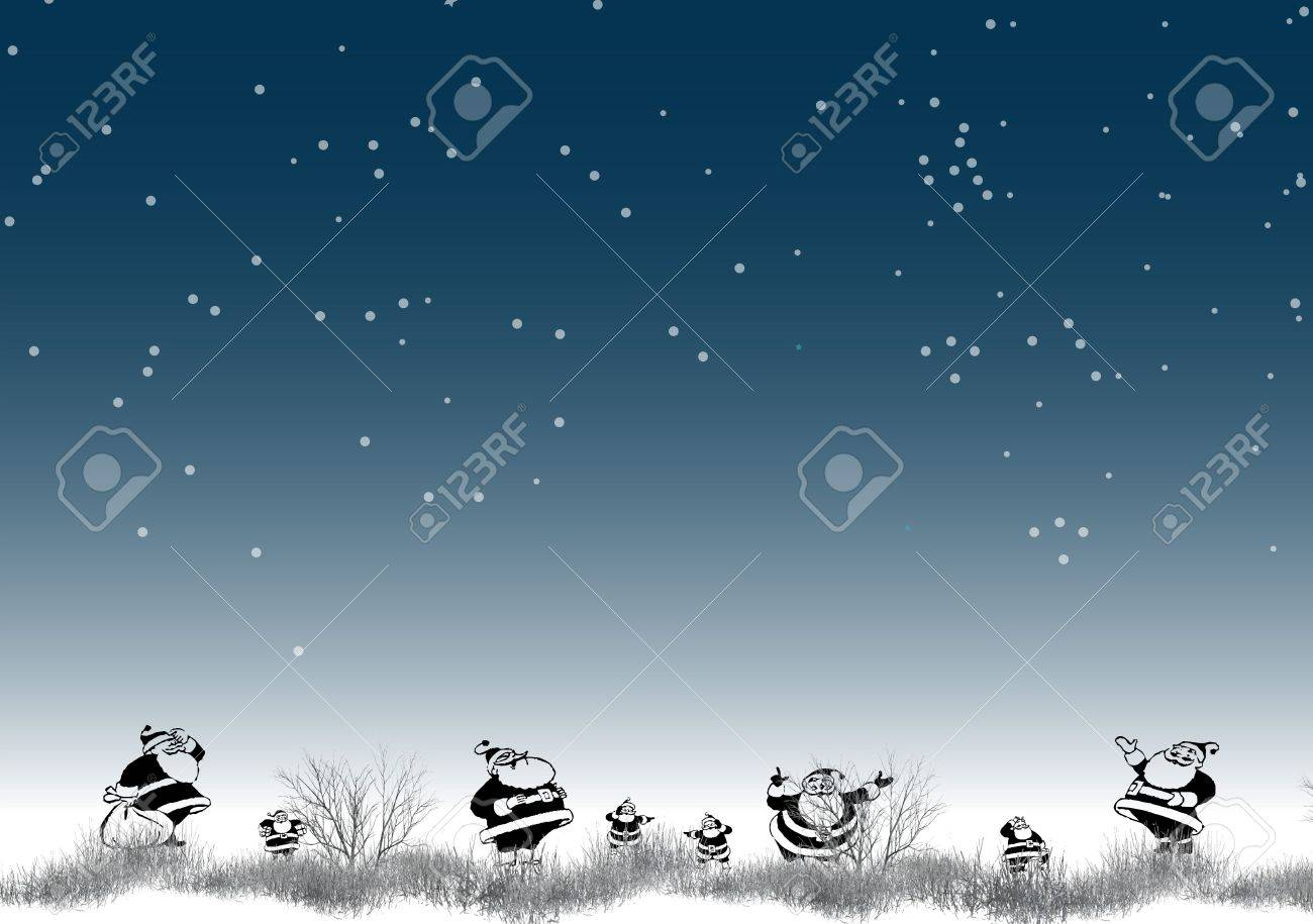 North Pole Christmas Illustration With Stars And Snow On Blue ...
