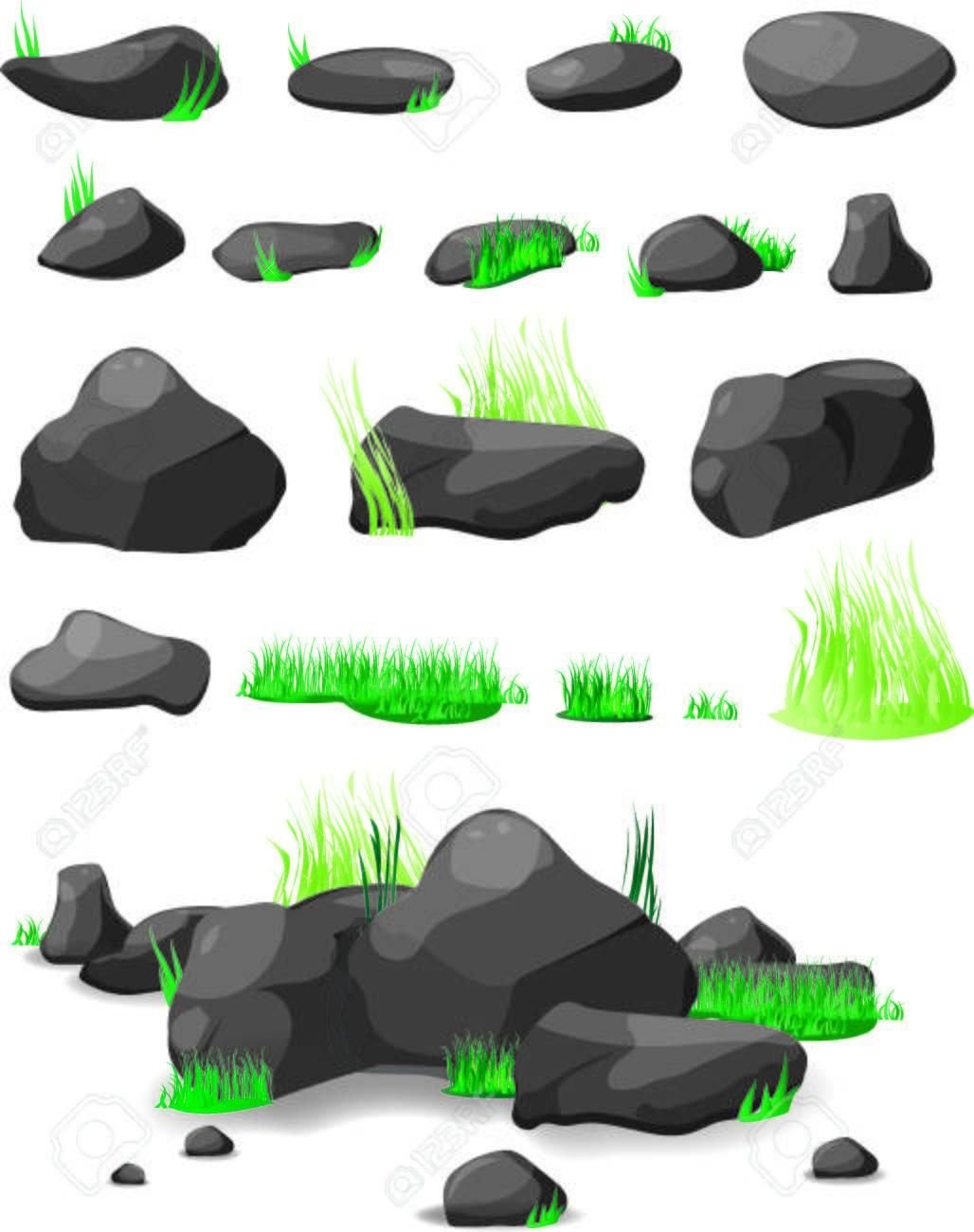 Roca De Piedra Y La Hierba Conjunto De Dibujos Animados Piedras Y