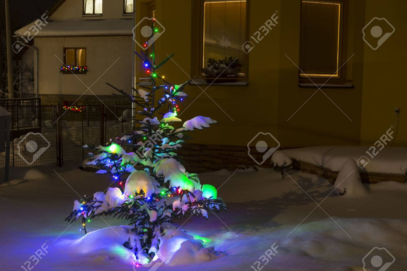 Colorful Christmas Lights On House.Small Christmas Tree In The Snow Near The House Decorated With