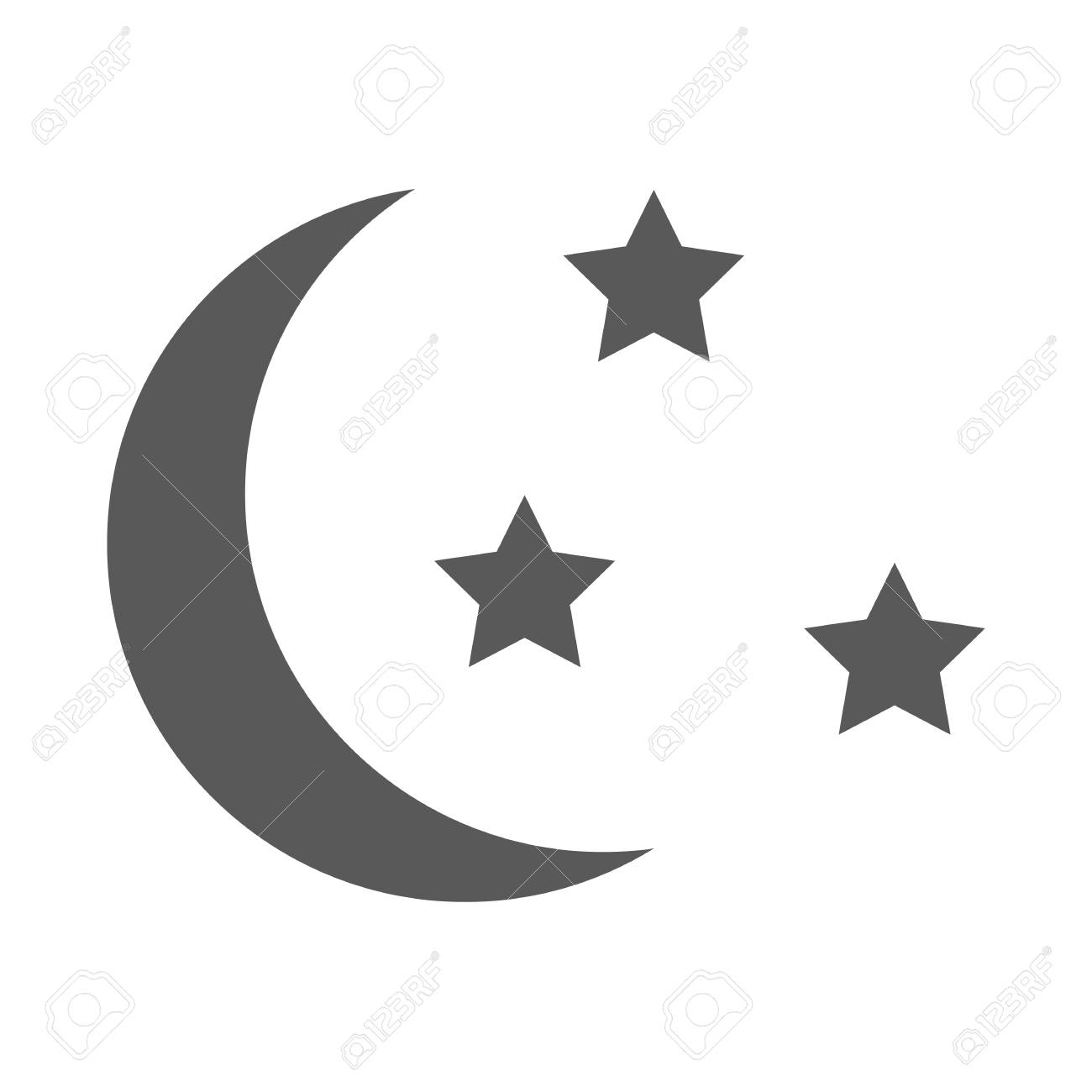 Sleep Icon Moon And Stars Sign Night Or Bed Time Vector Simple