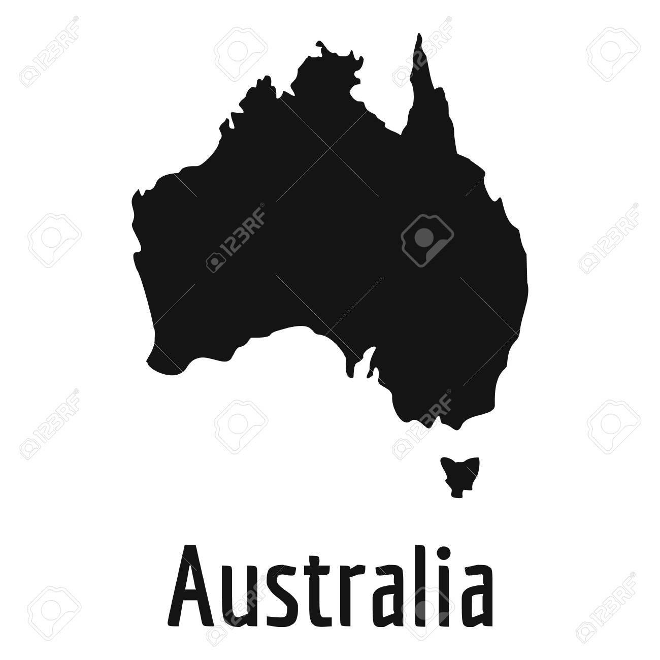 australia map in black simple illustration of australia map vector isolated on white background foto