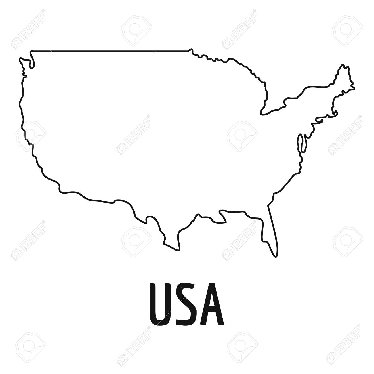 Usa Map Thin Line In Simple Illustration Of Cuba Map Isolated