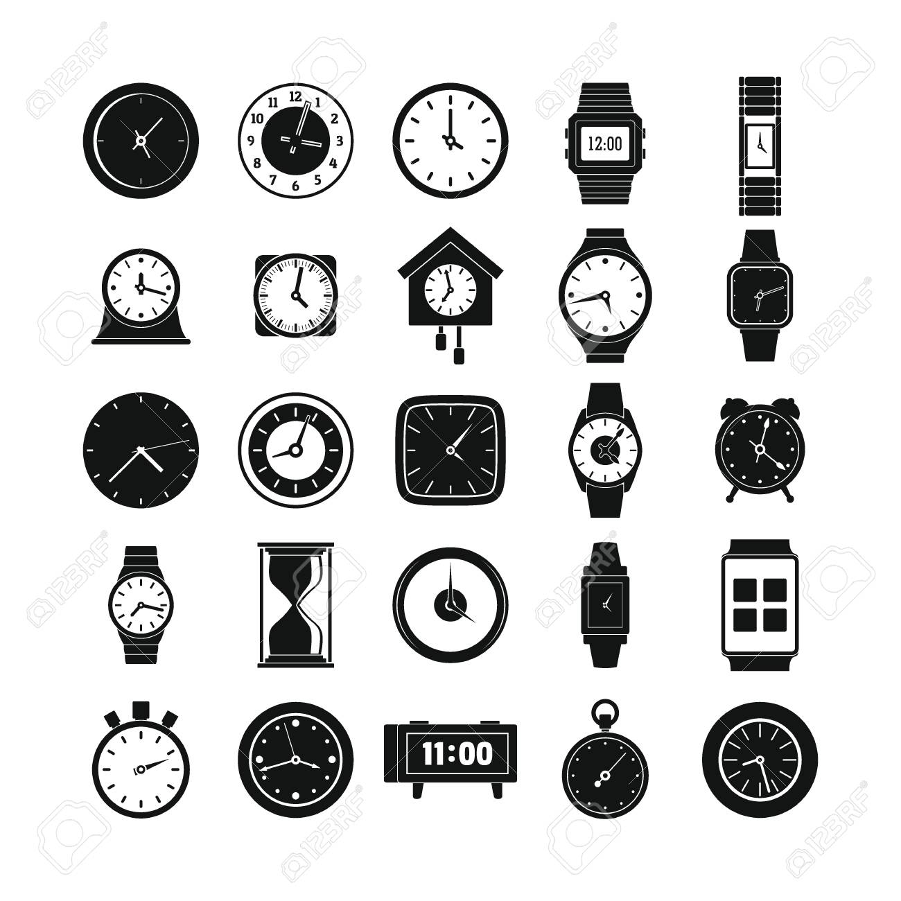 Time and clock icons set  Simple illustration of 25 time clock