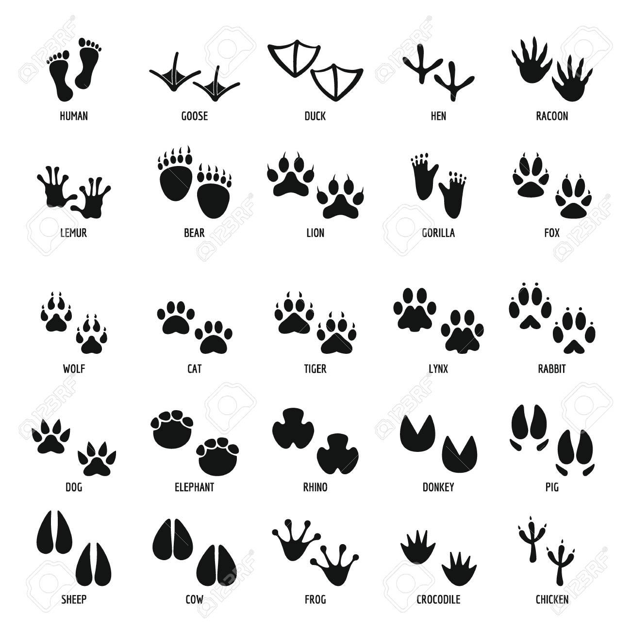 Animal footprint icons set, simple style - 90869178