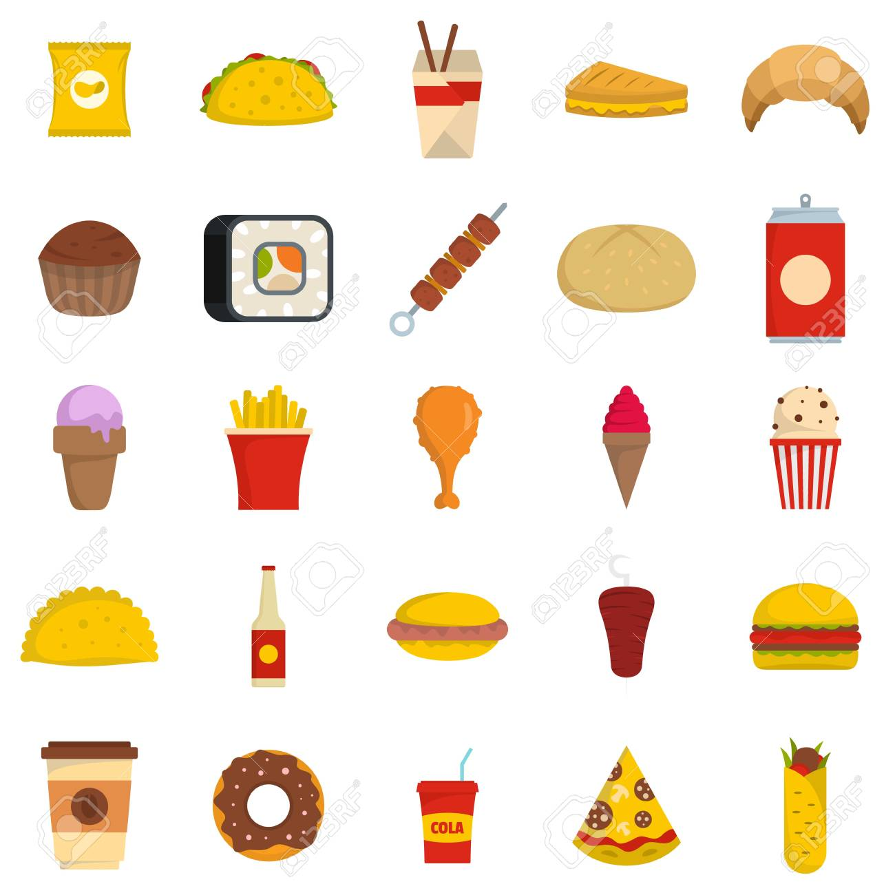 Fast Food Icons Set Flat Illustration Of 25 Fast Food Icons