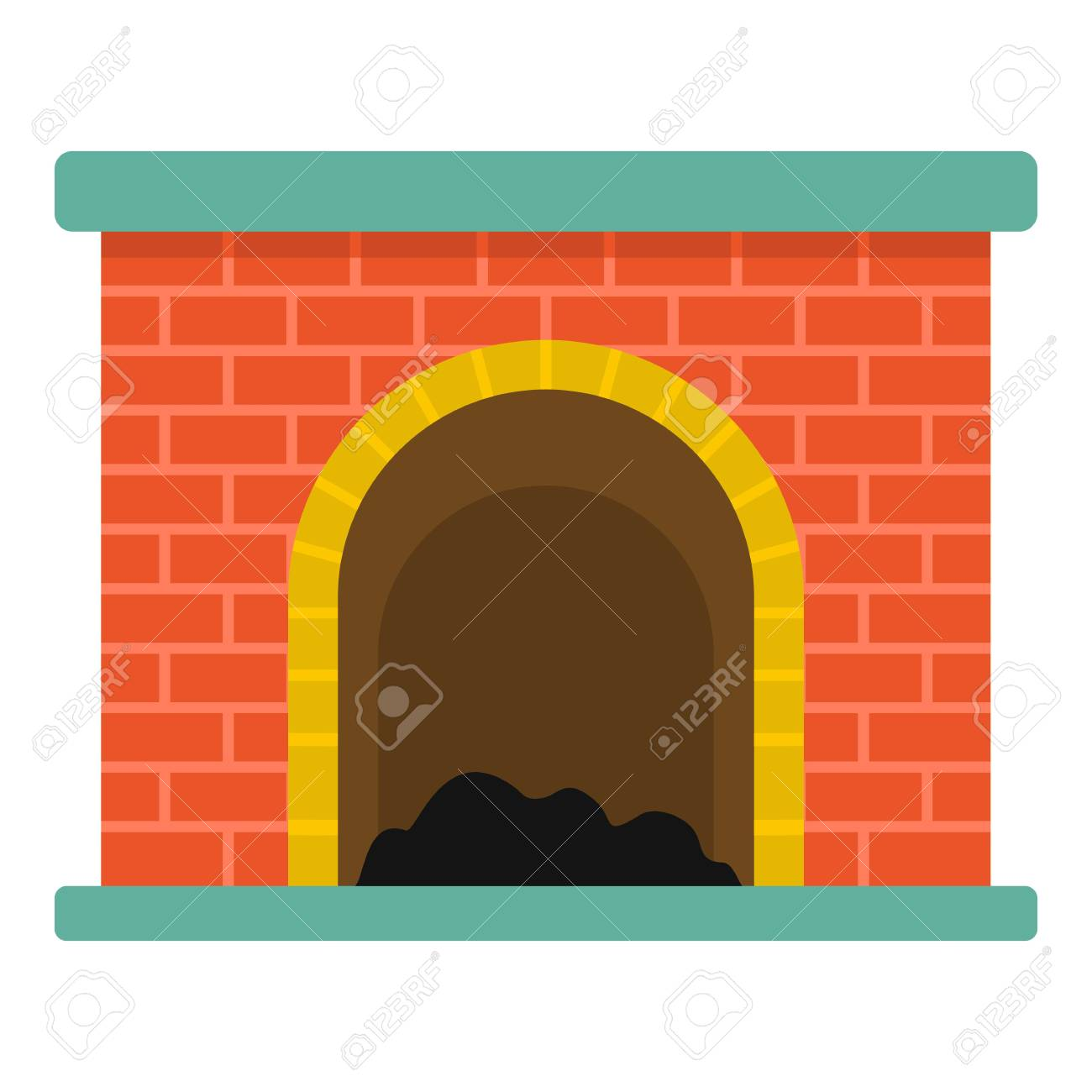 Brick Fireplace Icon Cartoon Illustration Of Brick Fireplace
