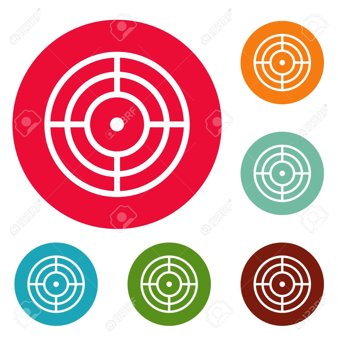 Objective Of Target Icons Circle Set Vector Isolated On White