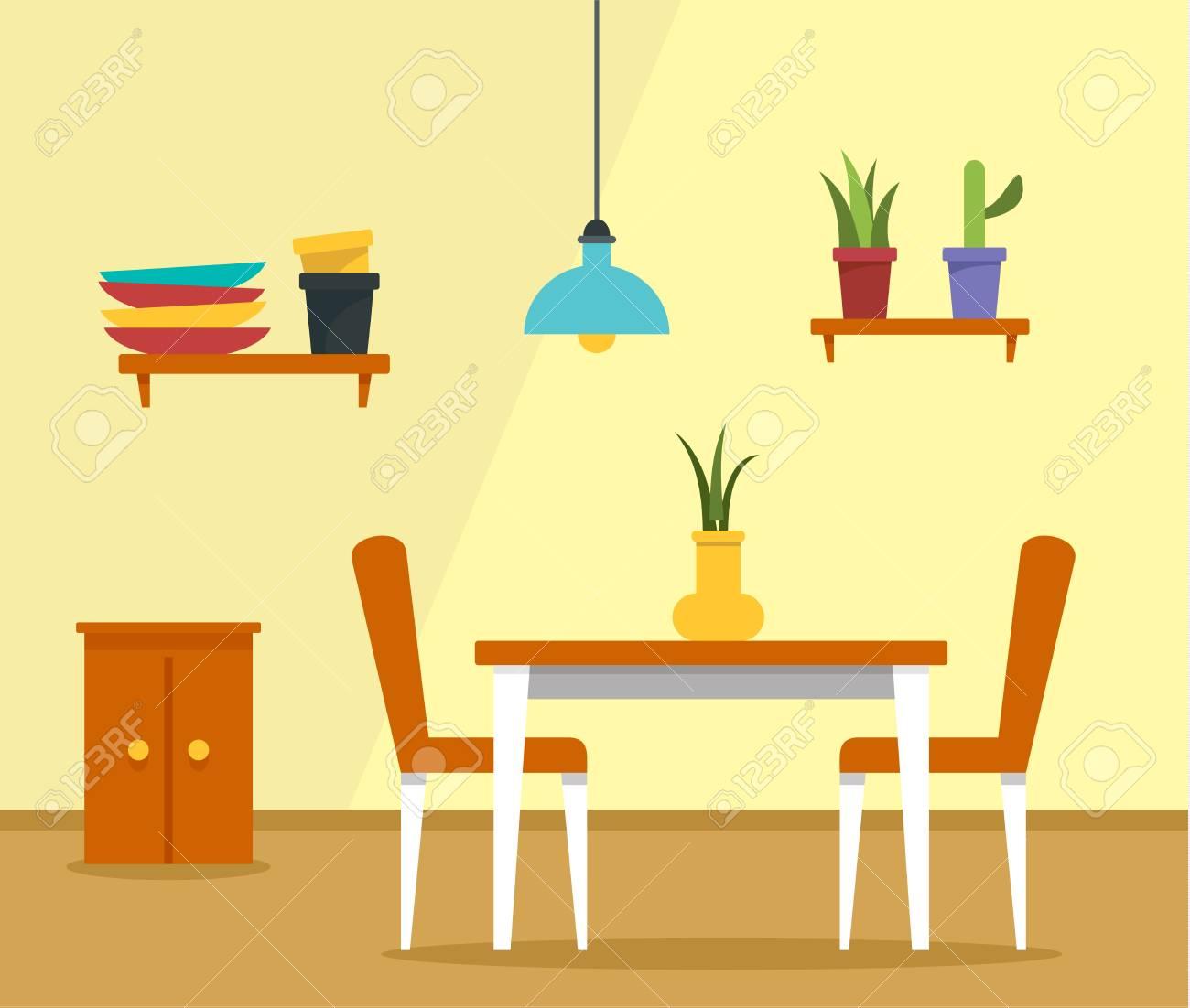 Kitchen table concept background. Flat illustration of kitchen..