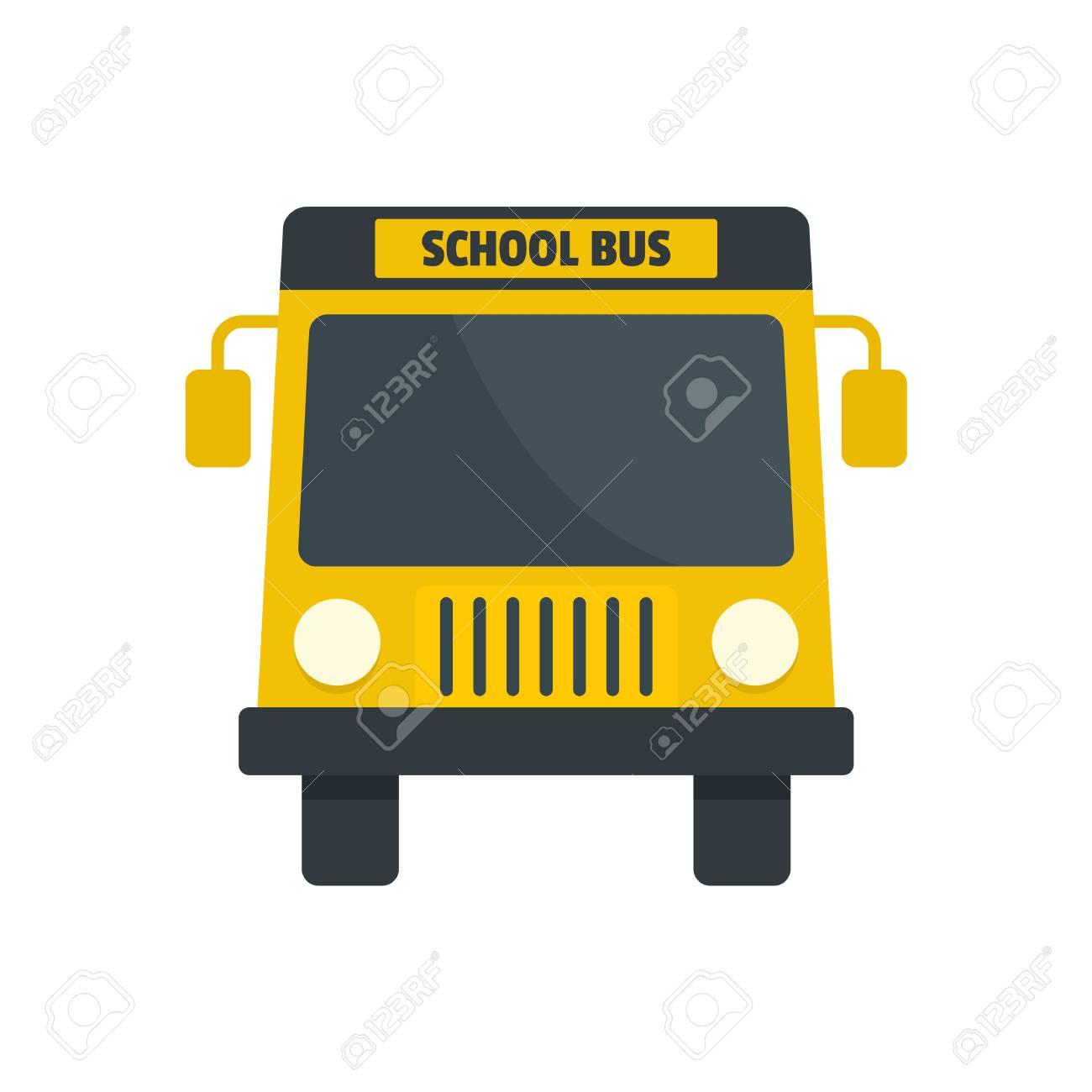 yellow school mini bus icon flat style foto royalty free gravuras