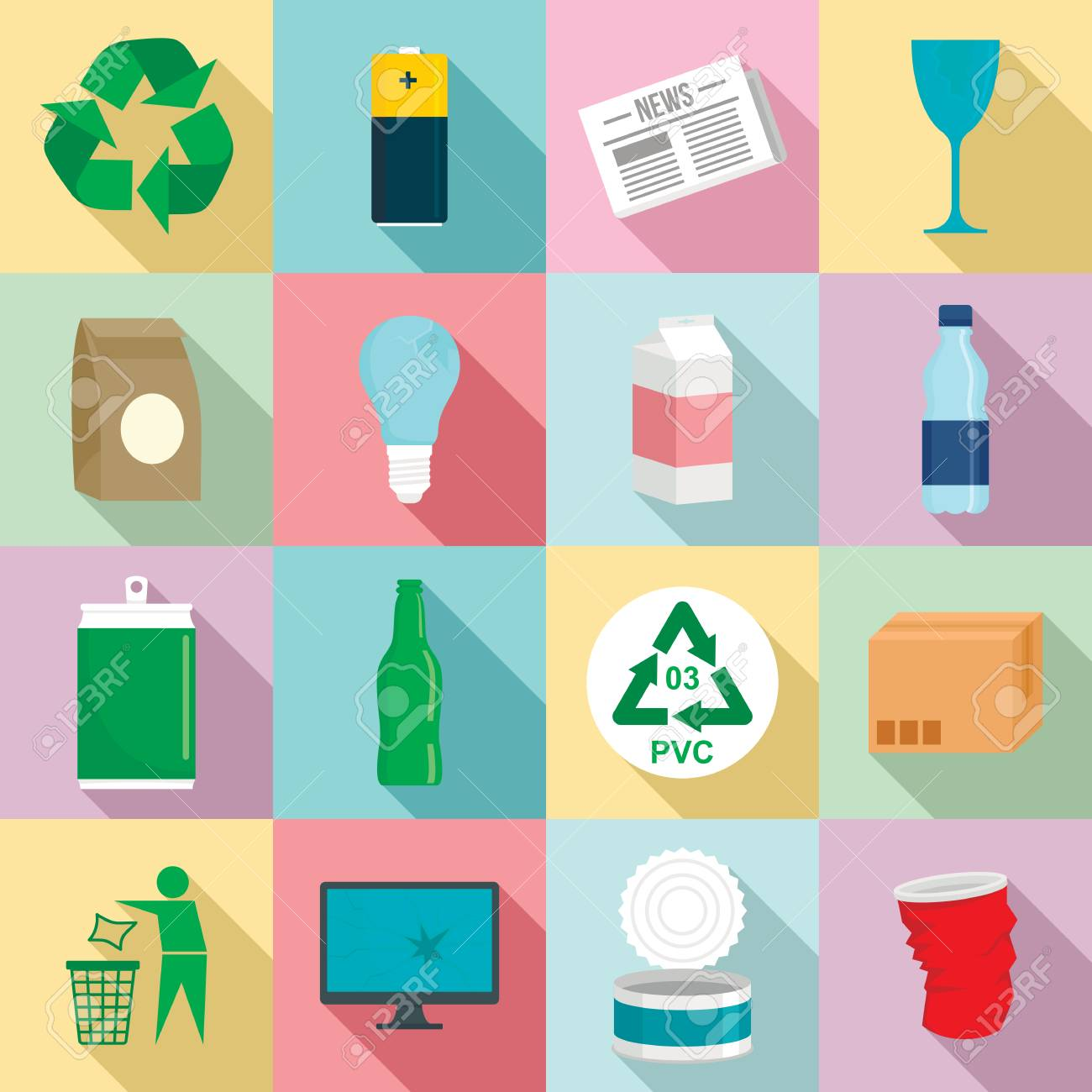 Recycles day icon set. Flat set of recycles day vector icons for web design - 109971501