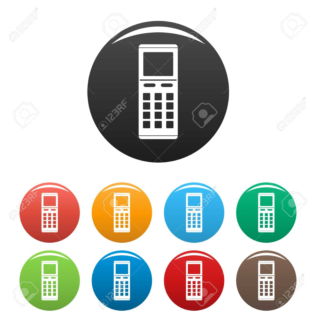 remote control air conditioner icons set 9 color vector isolated