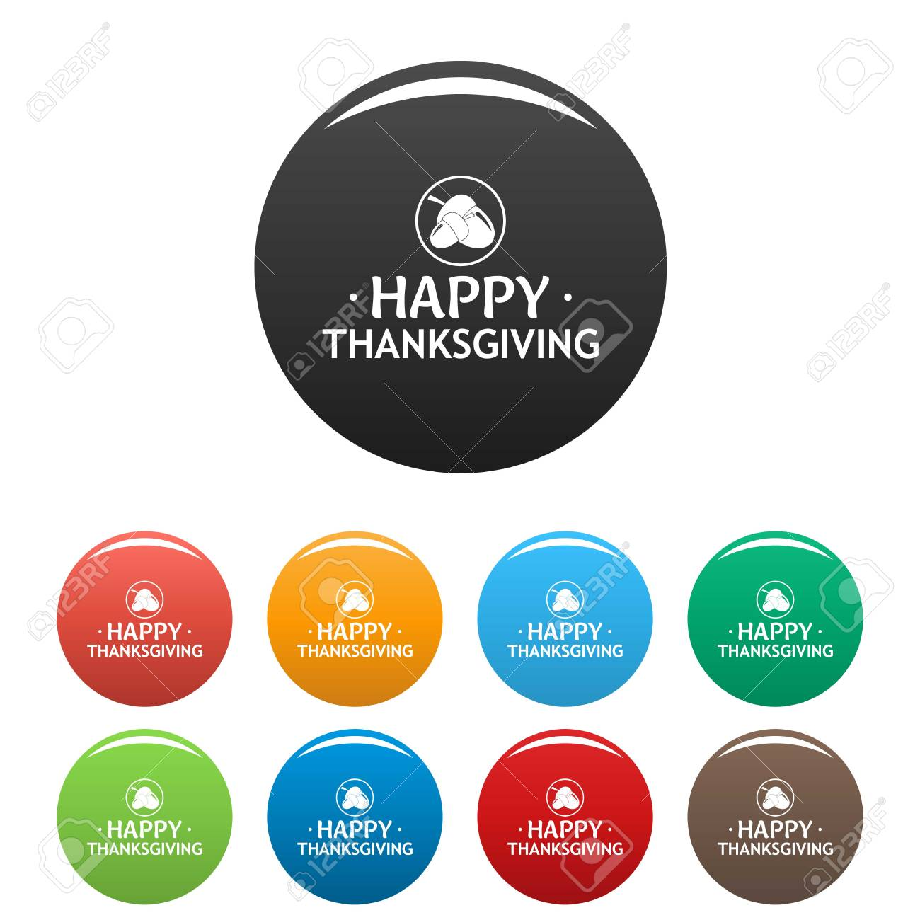 nuts thanksgiving icons set color royalty free cliparts vectors