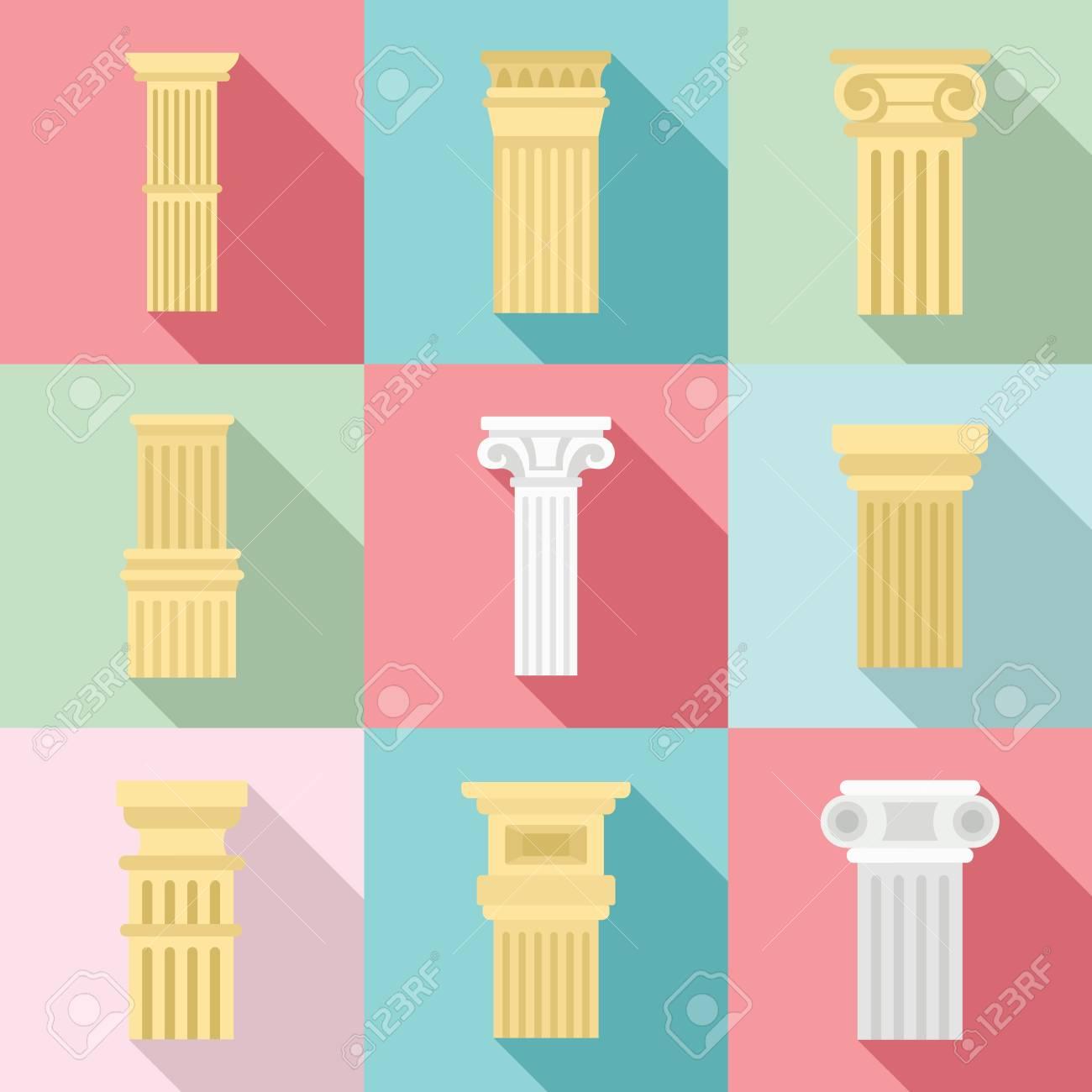 Pillar icon set, flat style - 112102842