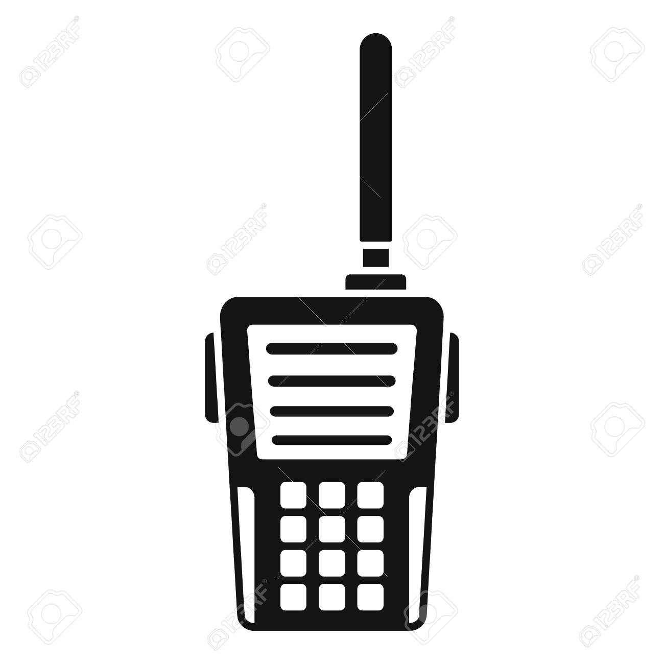 Walkie talkie icon. Simple illustration of walkie talkie vector icon for web design isolated on white background - 112920237