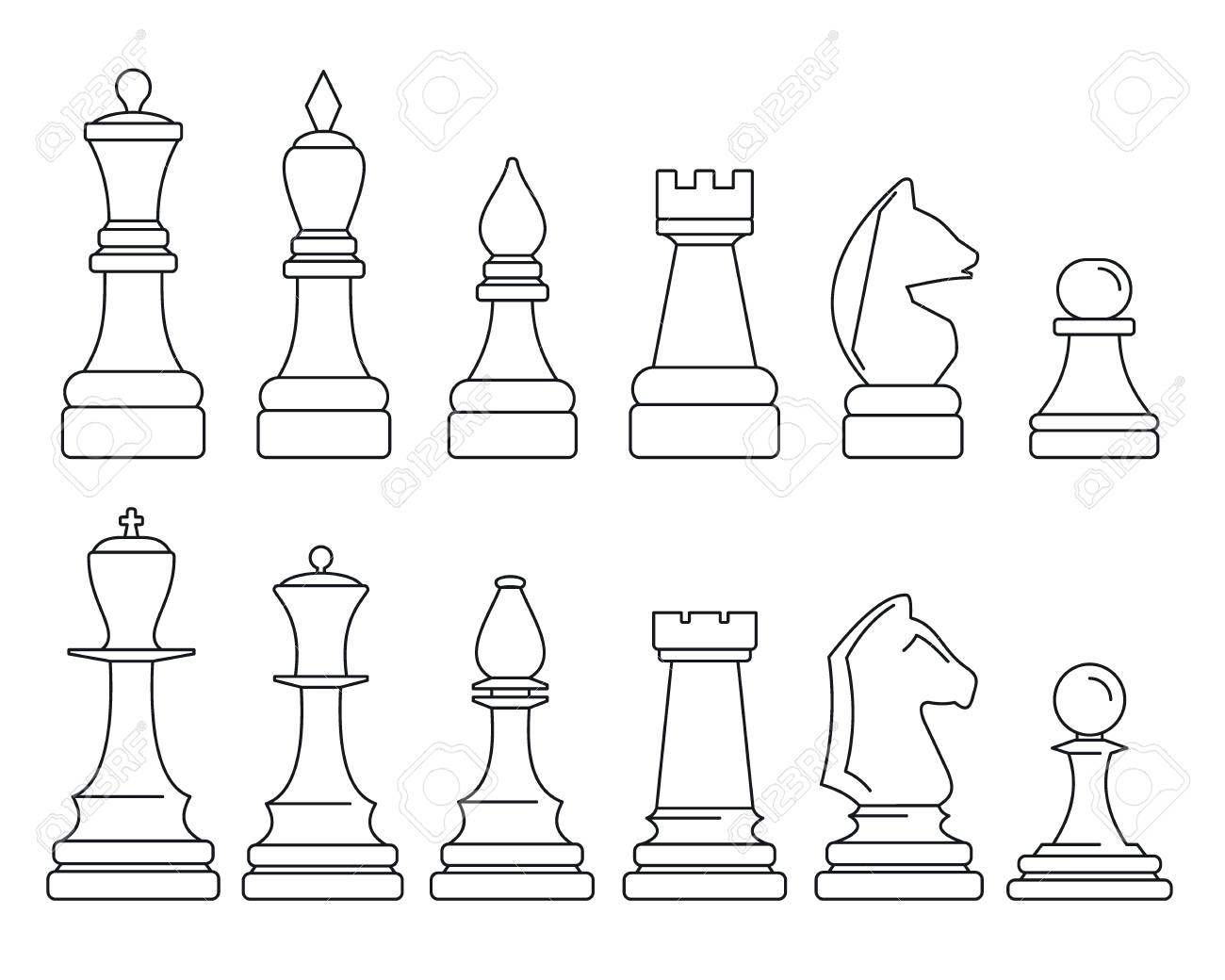picture about Printable Chess Pieces referred to as Chess piece icon preset, determine design and style