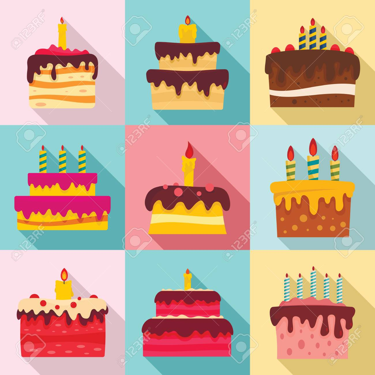 Cake Birthday Icon Set Flat Style Stock Photo Picture And Royalty