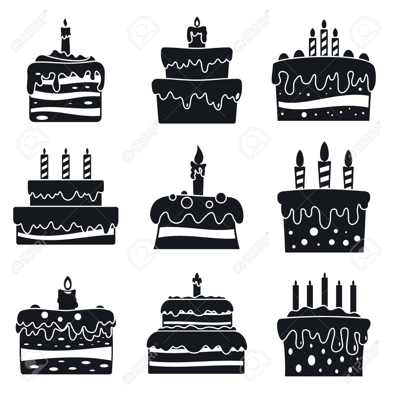 Cream Cake Birthday Icon Set Simple Style Stock Photo Picture And