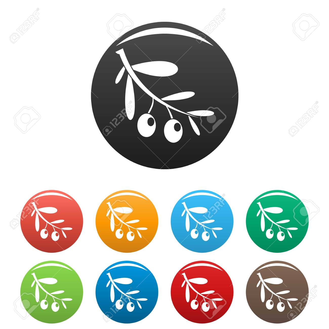Branch of olives icons set color - 118088756