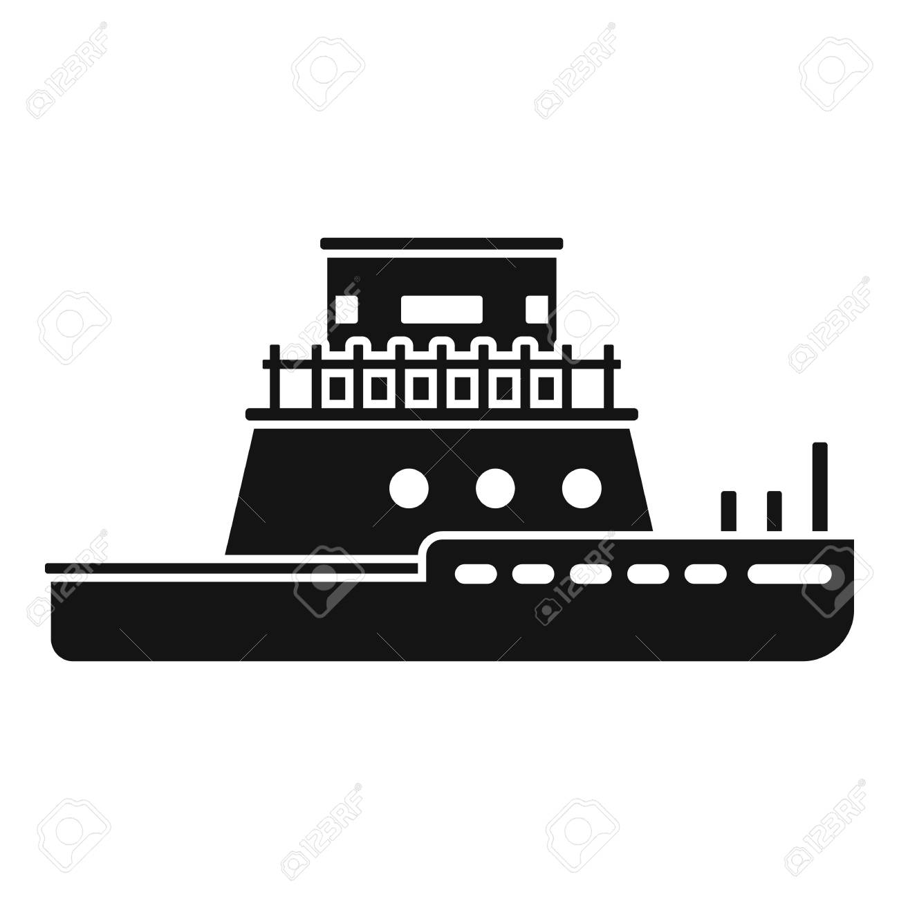 Tug boat icon, simple style